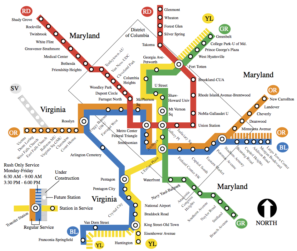 Map - Washington, DC, Metro system